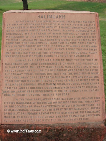 Plaque explaining the history of Salimgarh Fort
