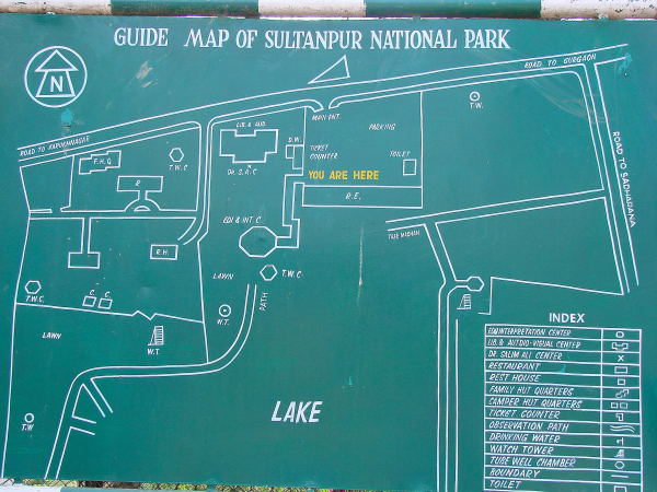 Guide map of Sultanpur Bird Sanctuary