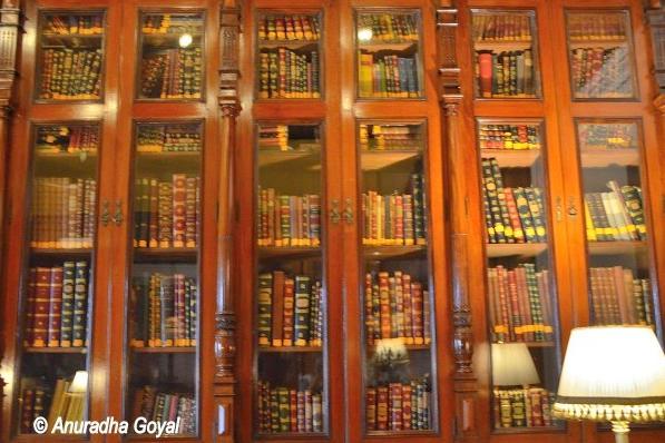 Rare books at the library in Falaknuma Palace