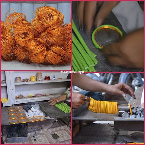 Making of Lac Bangles behind Laad Bazaar, Charminar, Hyderabad