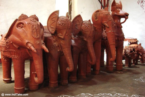 Terracotta Elephant figures at Araku Tribal Museum