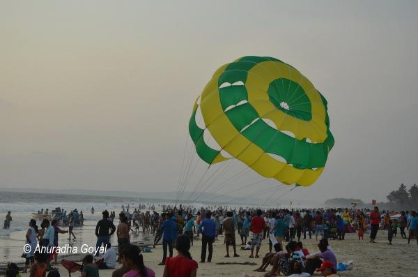 Enthusiastic balloon riders at Colva beach, Goa