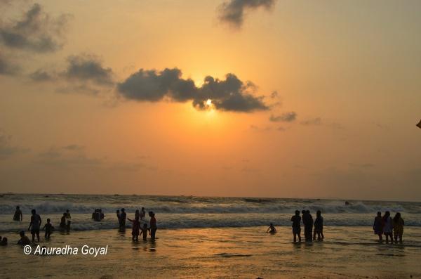 Sunset revellers at Colva beach, Goa