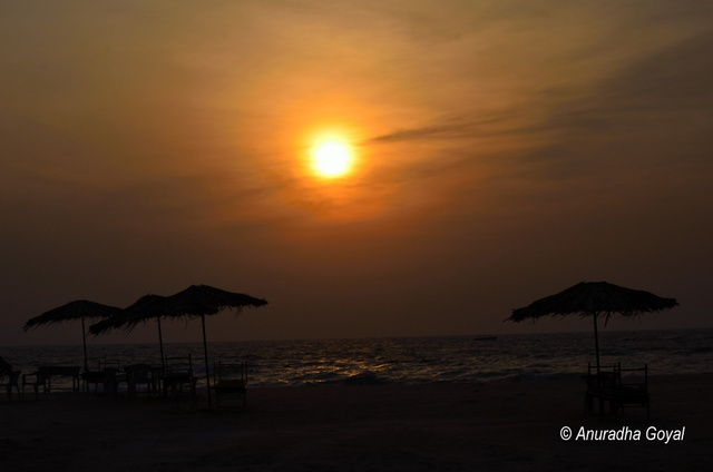 Sunset time at Colva beach, Goa