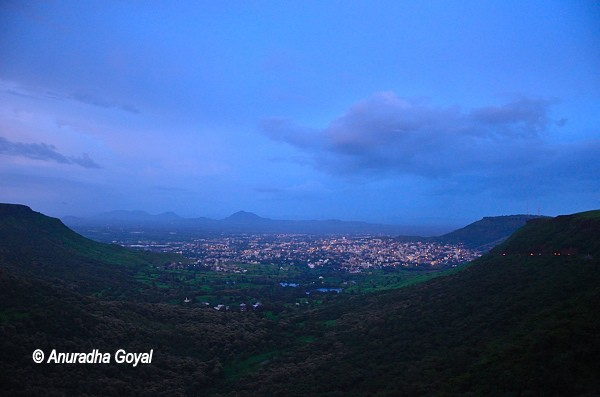 view of Satara city from the hills at dusk