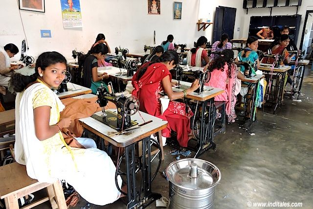 Women Sewing clothes at Charaka Heggodu Shimoga Karnataka