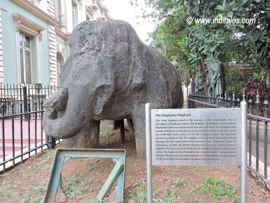 Elephant from Elephanta Caves displayed at Bhau Daji Lad Museum, Mumbai