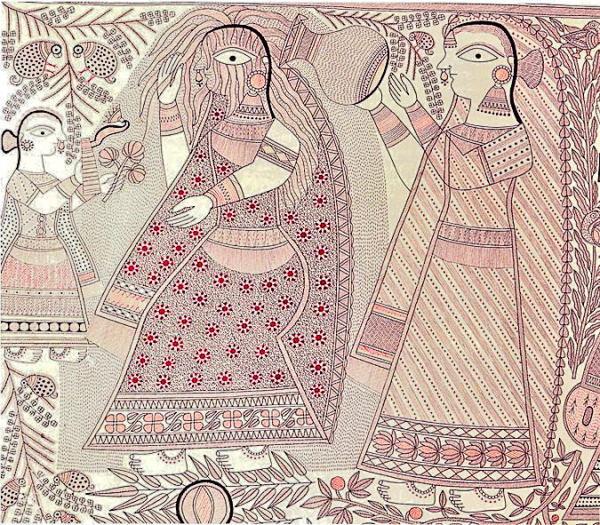 Cycle of Life Series - Attaining of Puberty, Ganga Devi's Madhubani Painting