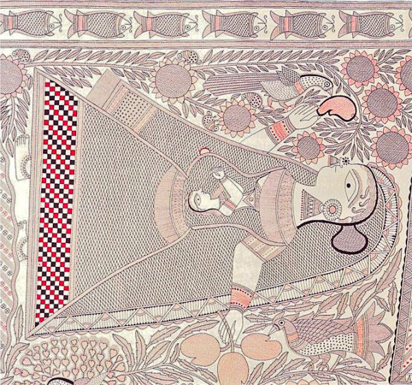 Manav Jivan Series - Pregnant woman lying on the floor, Ganga Devi's Madhubani Painting