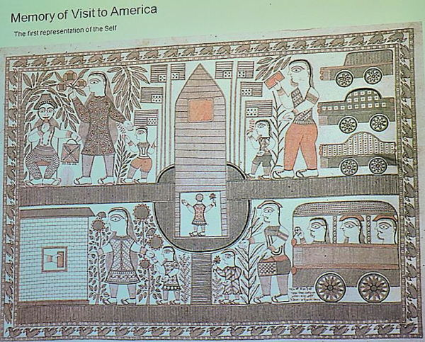Scenes of USA after her visit, Ganga Devi's Madhubani Painting