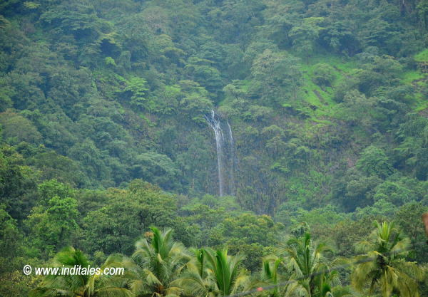 Kuskem Waterfalls landscape view, amidst lush greenery