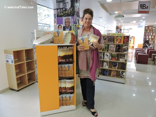 Paula Constant with her books Sahara & Slow Journey South in Pune