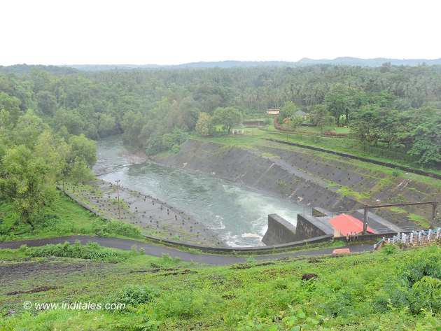 Canal stream flows to river by Salaulim dam