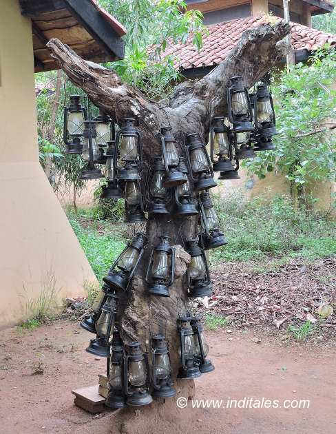 Kanha Earth Lodge Lanterns on Trees