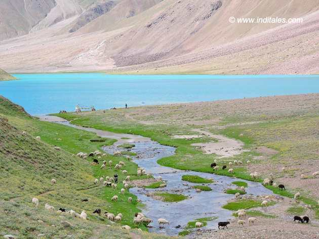 First Sight of Chandratal Lake while traveling in Lahaul Spiti valley