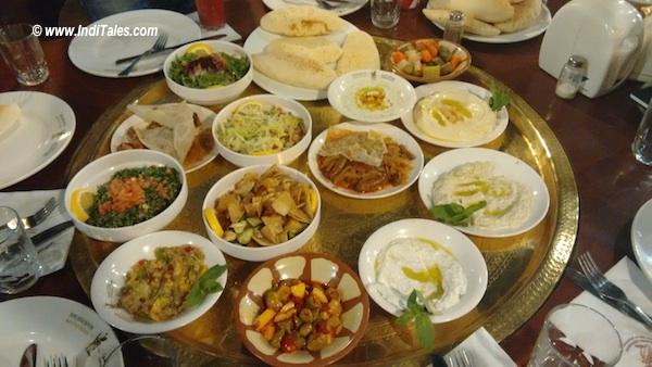 Visit Jordan First Impressions - Vegetarian Food spread in Jordan