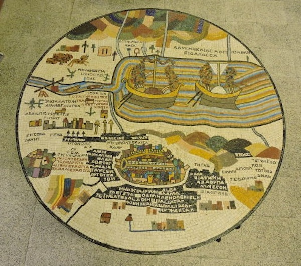 Madaba Mosaic Work Table Top recreating the map of holy land
