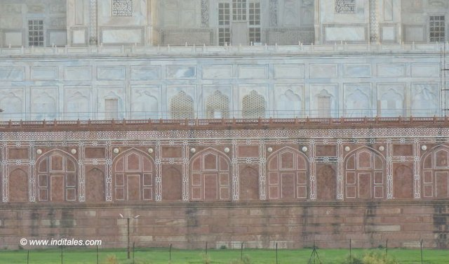Base of Taj Mahal from Yamuna Front in Agra