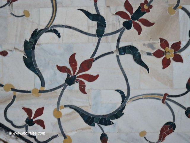 Floral Inlay work that used to have precious stones at Taj Mahal, Agra