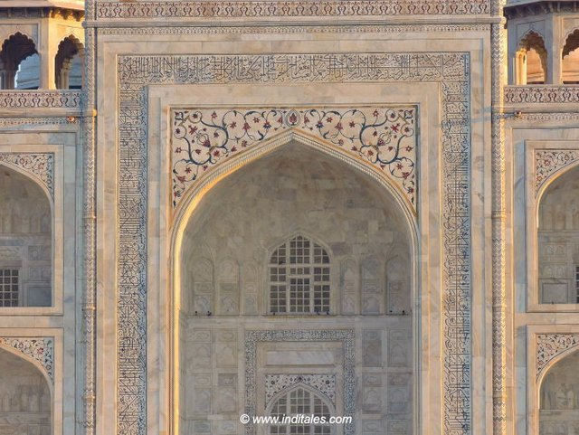 detail of the Taj Mahal Front face Agra