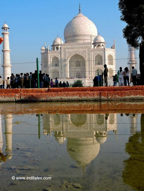 Taj Mahal reflecting in water