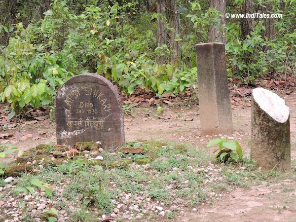 Commemorative stones at Kanha National Park