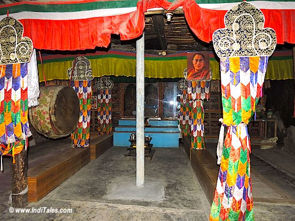 Colorful room with musical drums at Dhankar Monastery, Spitii Valley, Himachal Pradesh
