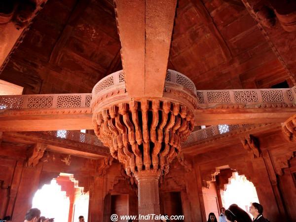 Inside of Ibadat Khana or Diwan-e-khaas at Fatehpur Sikri