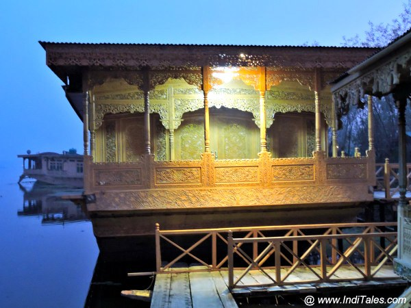 One of the luxury houseboat in Srinagar at night