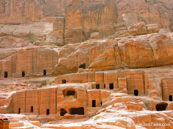 Facades and Caves co-existing at Petra Jordan