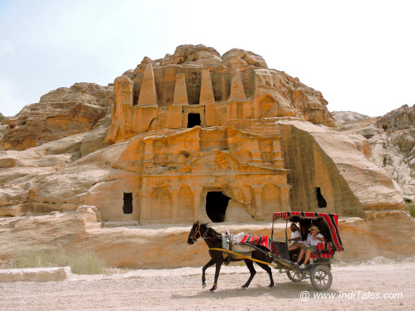 Tonga or Horse Cart carrying the tourist to treasury of Petra Jordan