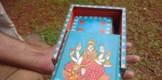 Painted wooden boxes at Sawantwadi Palace