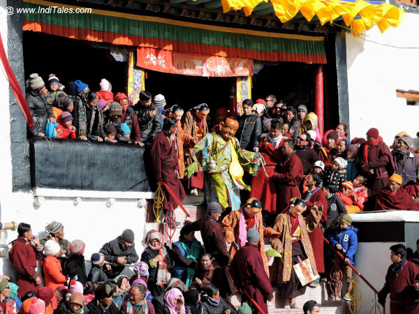Masked dancers coming down to perform Chan Dance at Spituk Monastery, ladakh