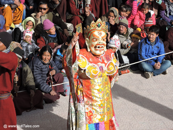 Yellow Masked Cham Dancer at Spituk Monastery Gustor Festival