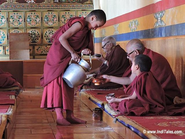 Tea being refilled at Thiksey Monastery in Ladakh. Ladakh for the Vegetarians