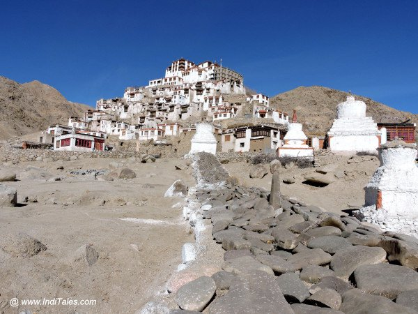 Prayer stones leading to Chemdey Monastery in Ladakh