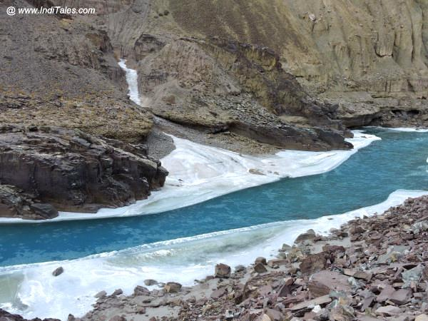 Blue Zanskar River, typical Ladakh in winters