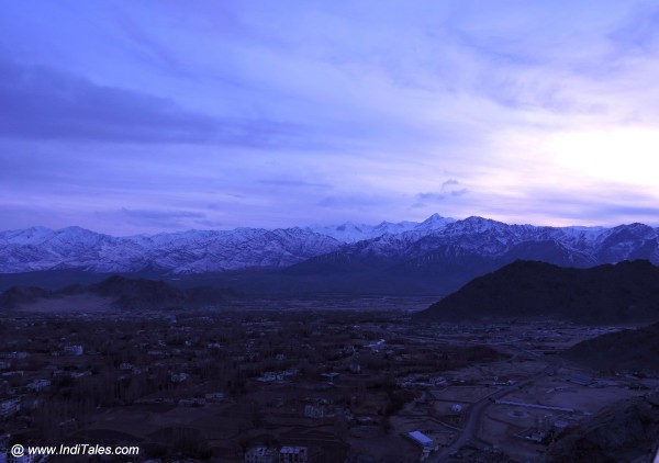 Sunset from Shanti Stupa in Leh. Ladakh in winters