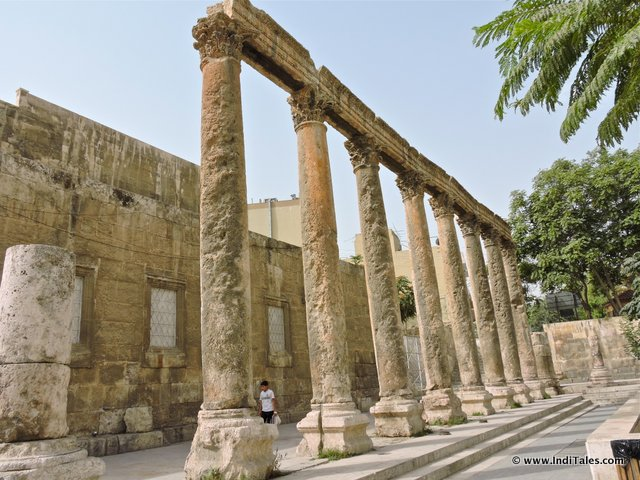 Columns in front of Amman Roman Theater, Jordan
