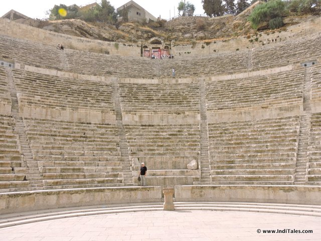Closer look at Seating of Roman Theater in Amman, Jordan