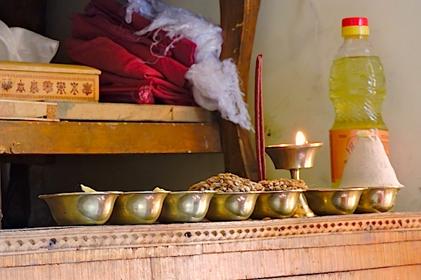 Ritual bowls and Butter Lamps Buddhist Oracle Ladakh