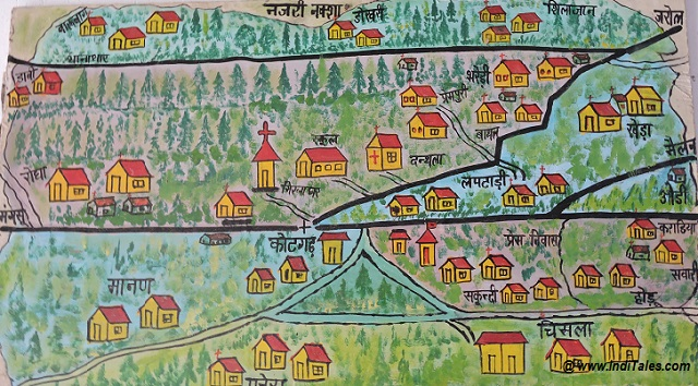 Handmade map of Shimla India