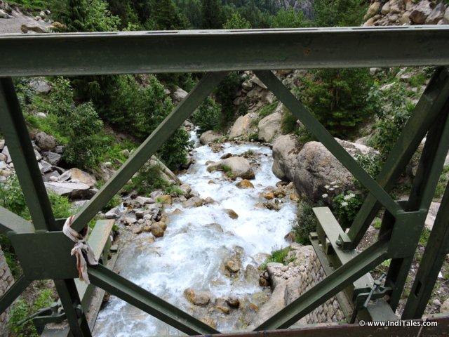 View of Himalayan streams from a Bridge, Sangla Valley, Himachal