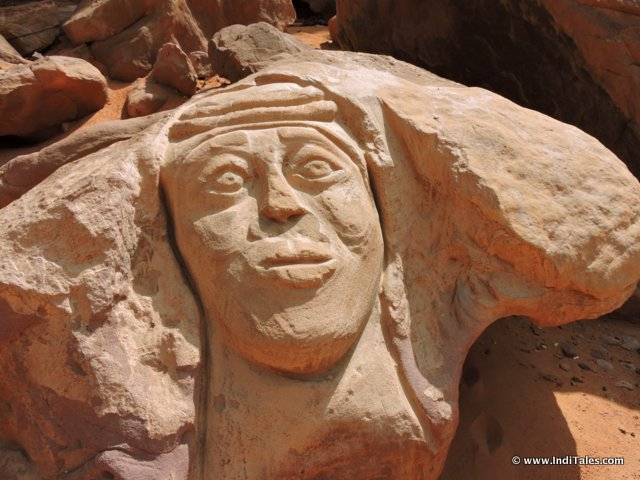 Face Carved on a Rock Wadi Rum Jordan