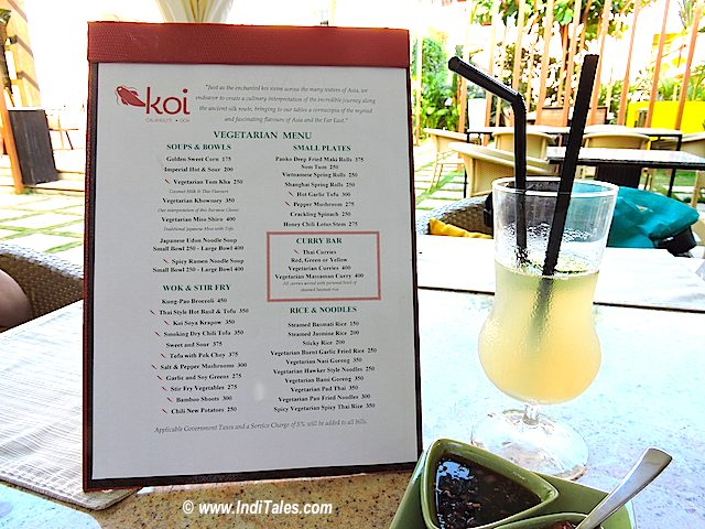Vegetarian Menu at Koi restaurant, Calangute, Goa Restaurants