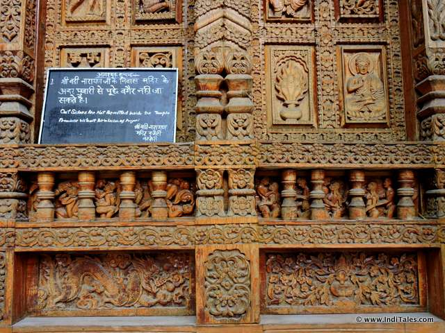Carvings at Badri Vishal Temple, Basteri, Sangla Valley. Himachal Pradesh