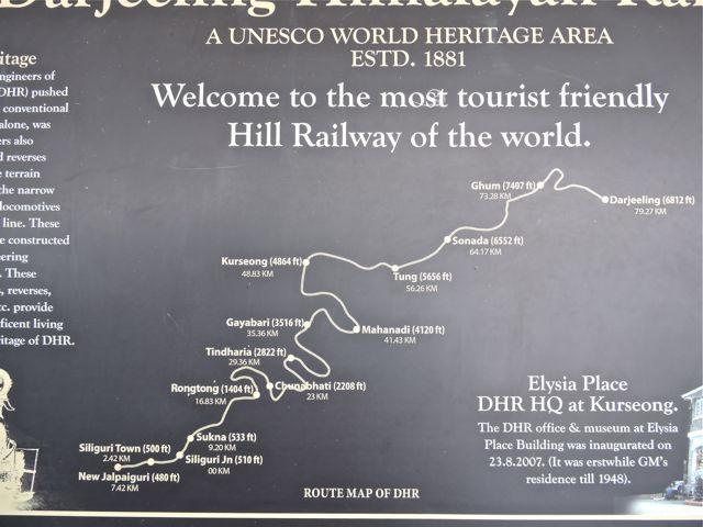 Detailed route of Darjeeling Himalayan Railway from Darjeeling to New Jalpaiguri