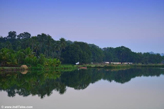 Landscape view of the Aldona backwaters at dusk