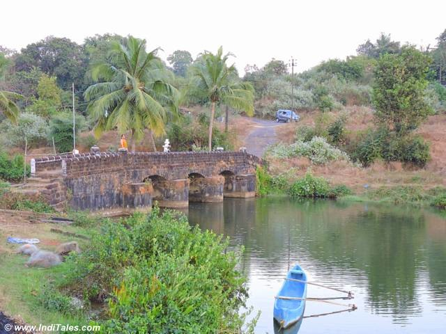Stone bridge over backwaters at Aldona Goa
