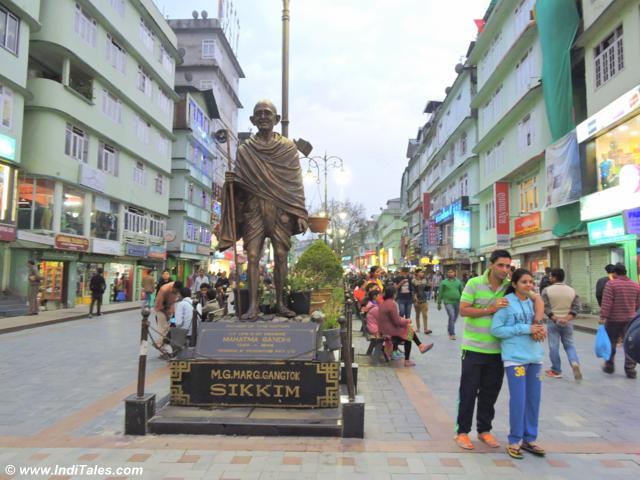 mahatma gandhi statue at MG Marg Gangtok, Sikkim